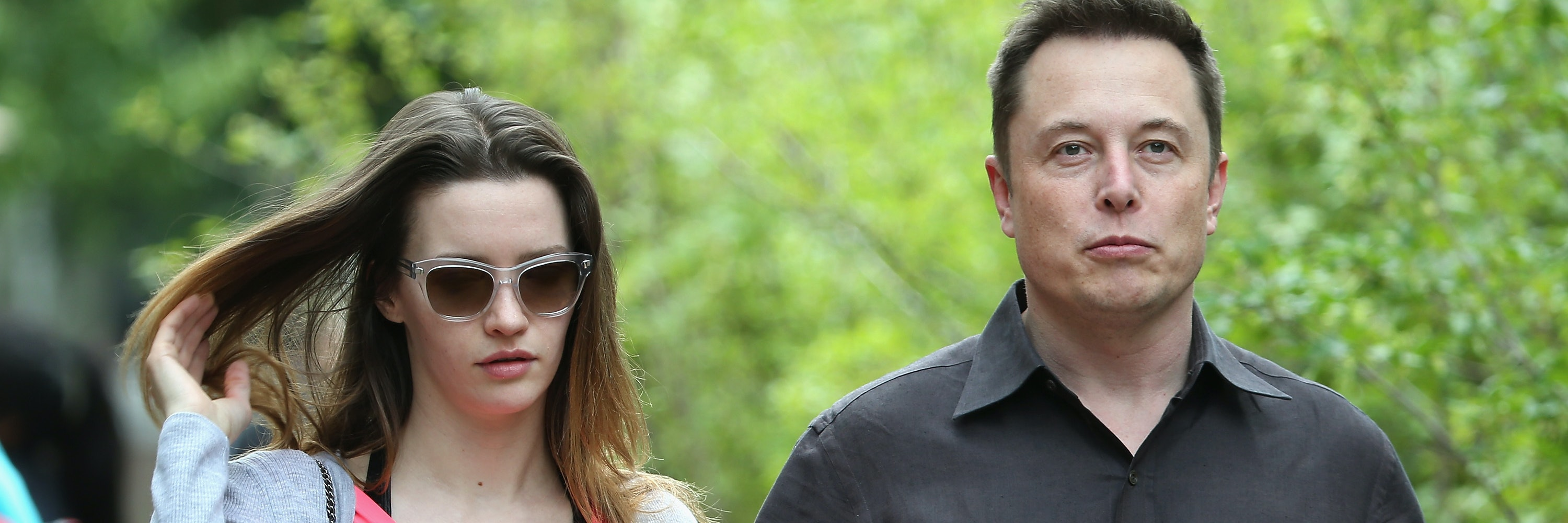 Elon Musk, CEO and CTO of SpaceX, CEO and product architect of Tesla Motors, and chairman of SolarCity, and his wife Talulah Riley attend the Allen & Company Sun Valley Conference on July 8, 2015 in Sun Valley, Idaho. Many of the worlds wealthiest and most powerful business people from media, finance, and technology attend the annual week-long conference which is in its 33nd year.