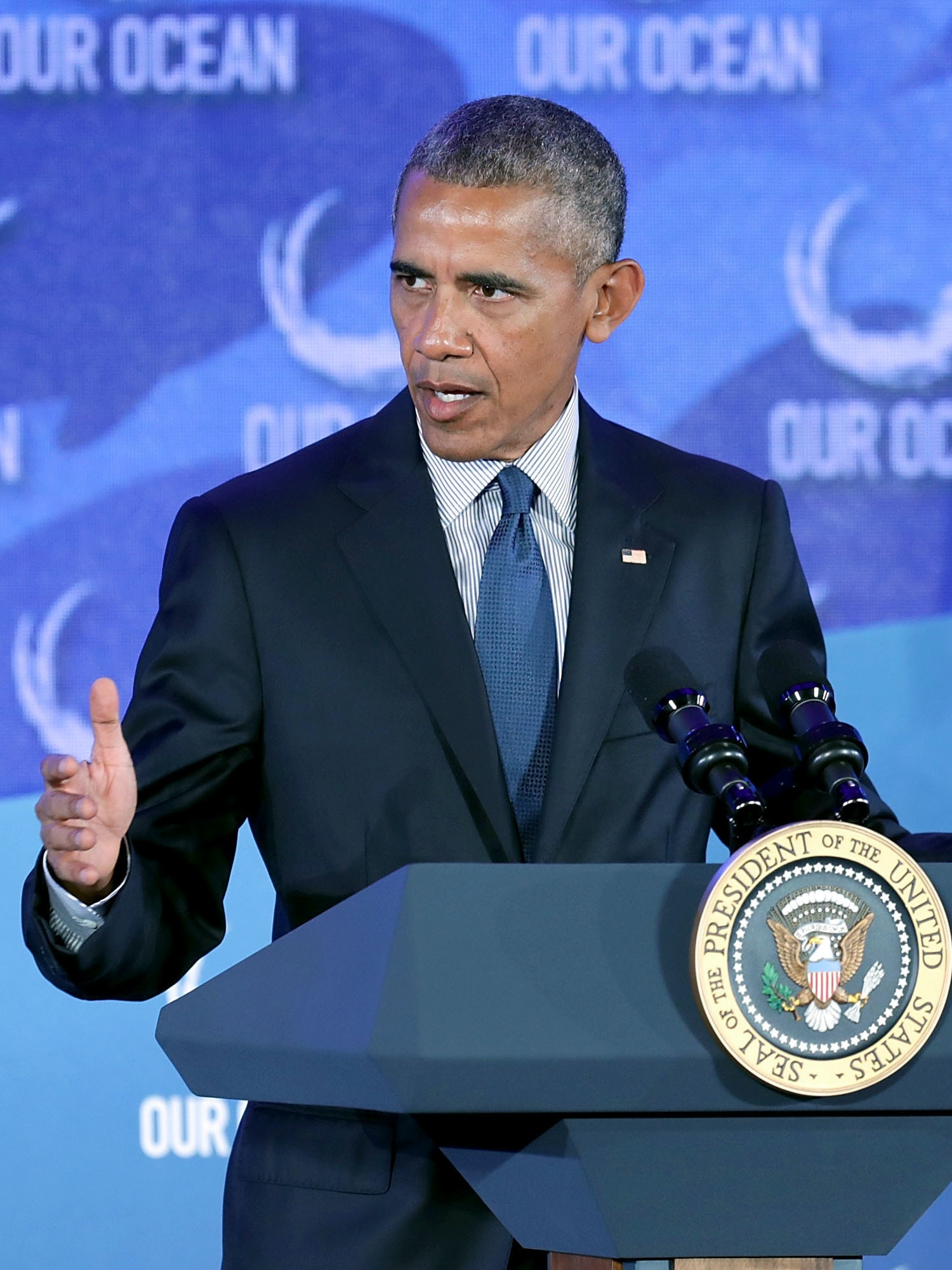 WASHINGTON, DC - SEPTEMBER 15:  U.S. President Barack Obama delivers remarks at the Our Oceans conference at the State Department's Harry S. Truman building September 15, 2016 in Washington, DC. According to the State Department, the conference will bring scientists, political leaders and advocates together to focus on 'key ocean issues of our time Ð marine protected areas, sustainable fisheries, marine pollution, and climate-related impacts on the ocean.'  (Photo by Chip Somodevilla/Getty Images)
