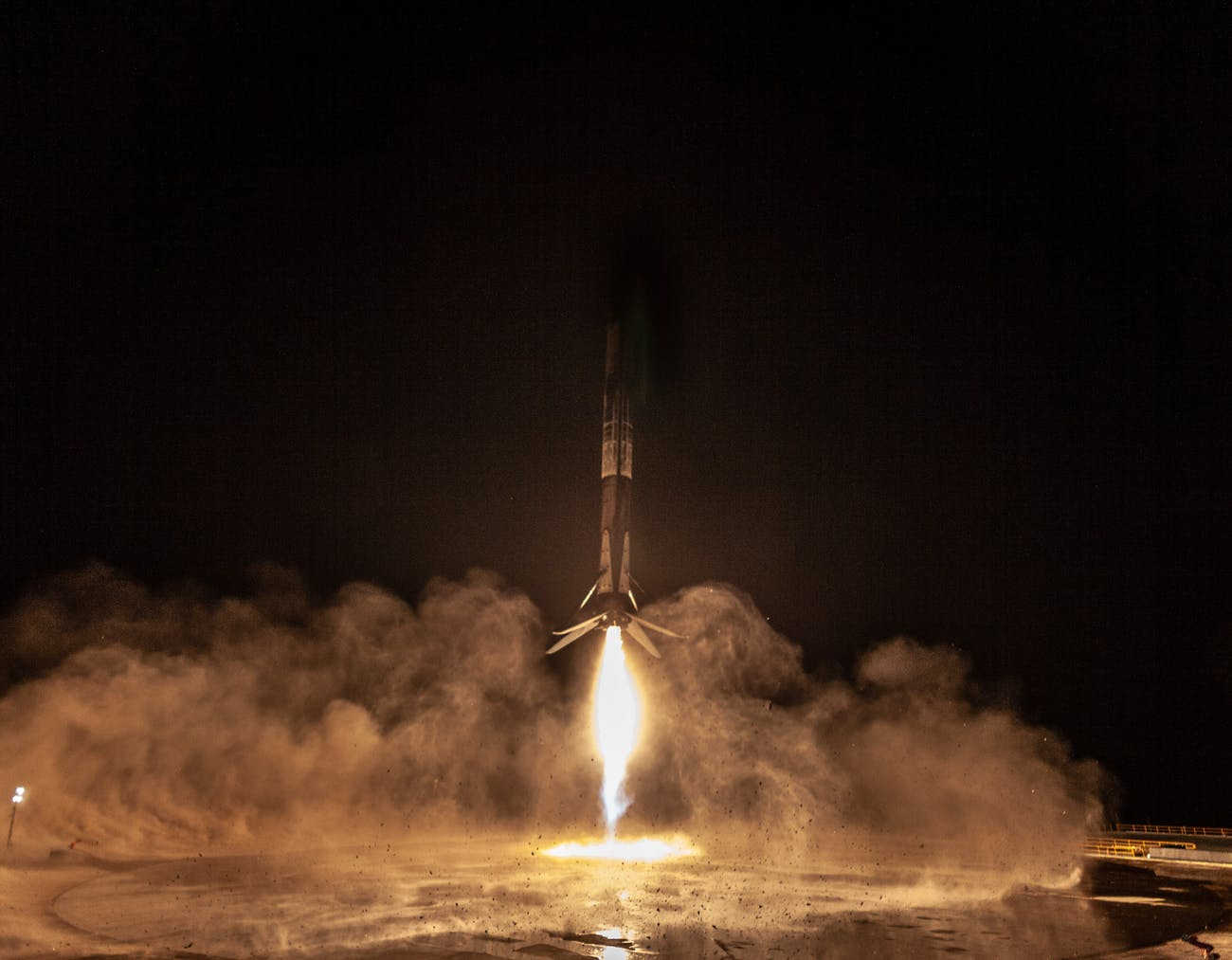 SpaceX's capture of the Falcon 9 landing.