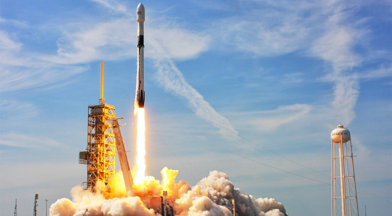 Falcon 9 is a two-stage-to-orbit medium lift launch vehicle designed and manufactured by SpaceX
