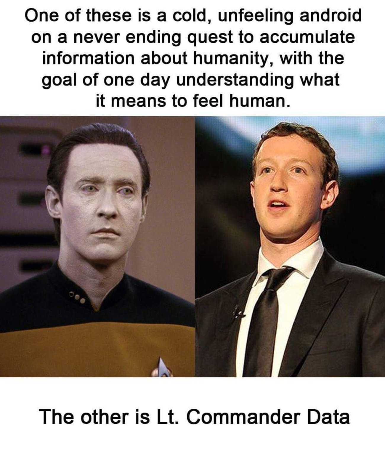 Zuckerberg Testimony Spawns Meme Comparing Him To Star Treks Data