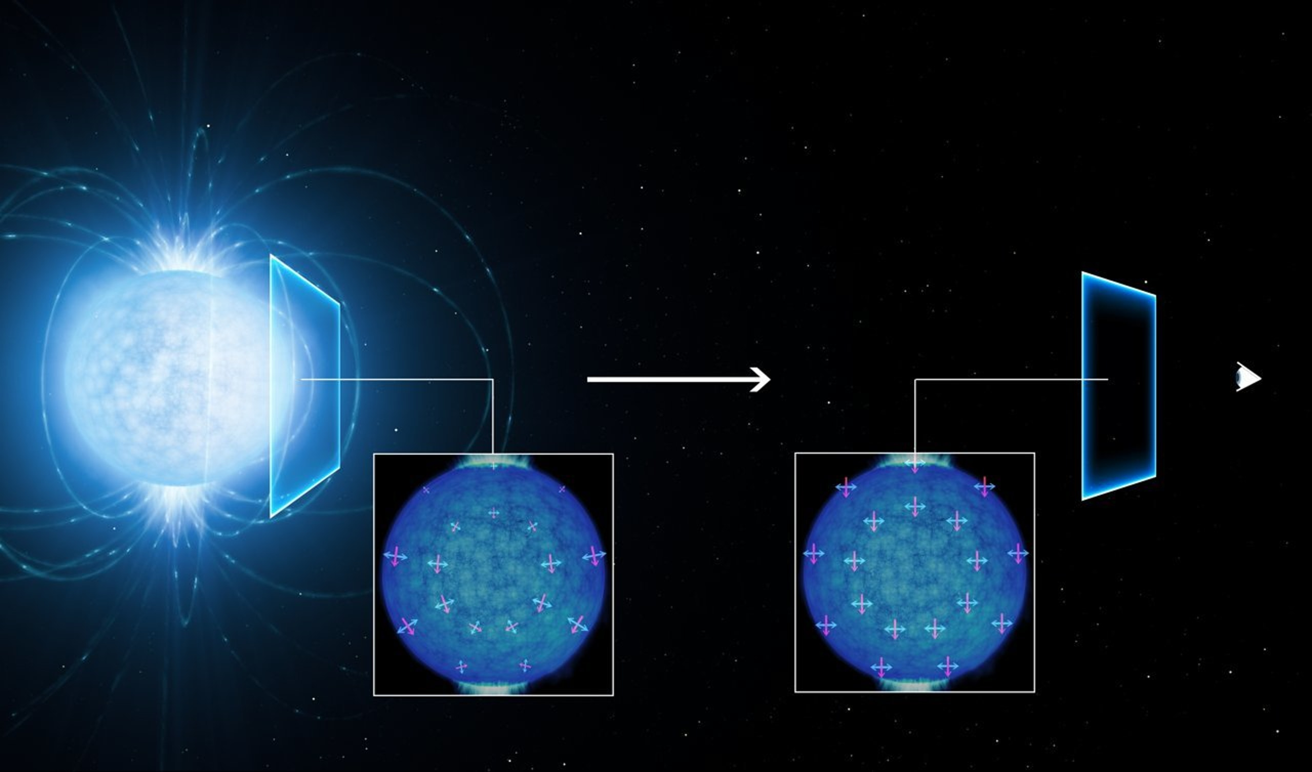 Light polarisation around a neutron star.