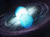 An illustration of two neutron stars spinning around each other while merging.