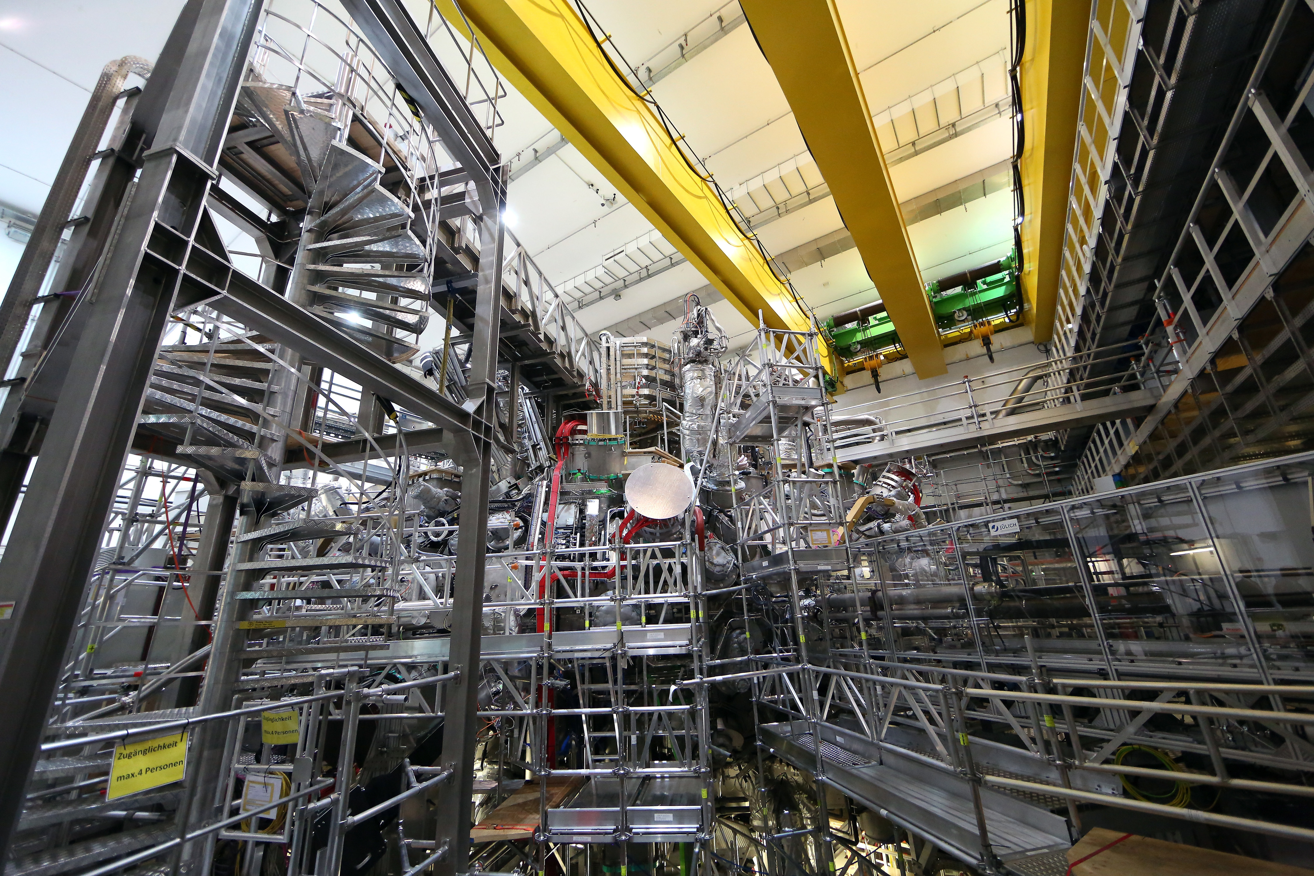 The interior of the new Wendelstein 7-X nuclear fusion experimental device at the Max Planck Institute of Plasma Physics in Greifswald, Germany.