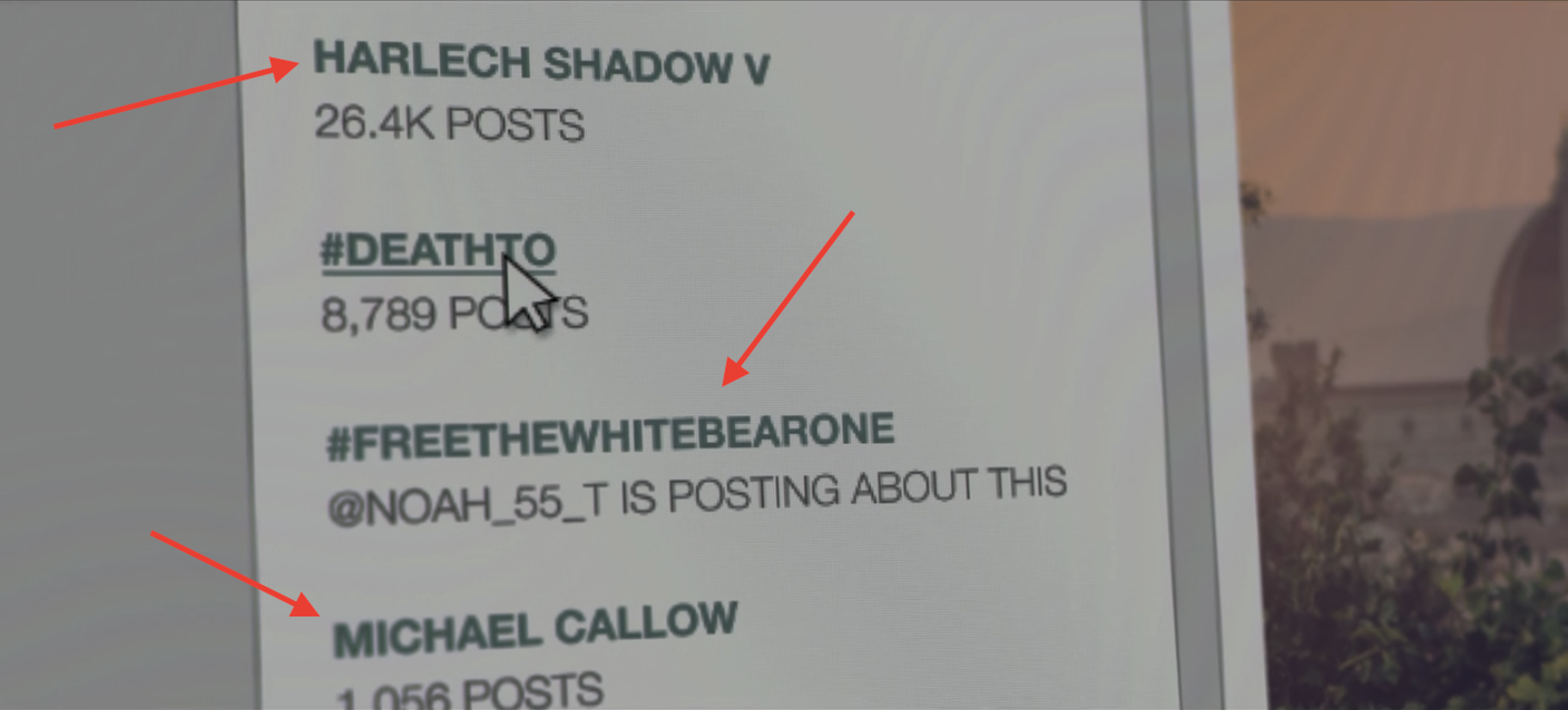 """Easter eggs in """"Hated in the Nation"""" from """"Playtest"""", """"White Bear"""", and """"The National Anthem""""."""