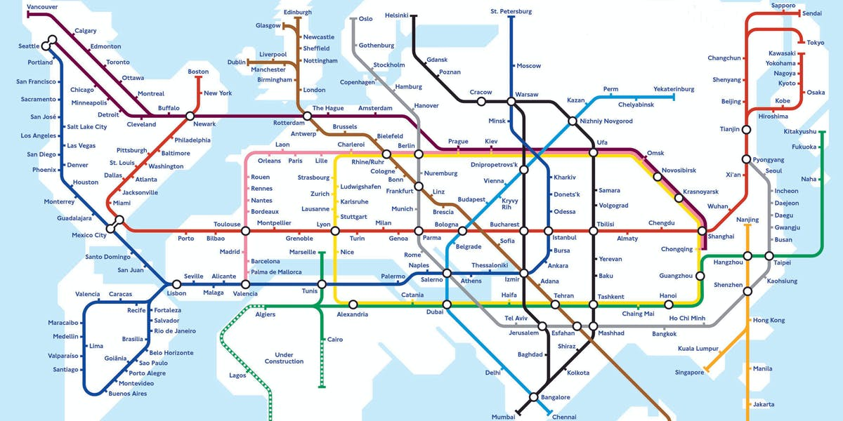 World map shows what a hyperloop future may look like inverse world metro map gumiabroncs Gallery