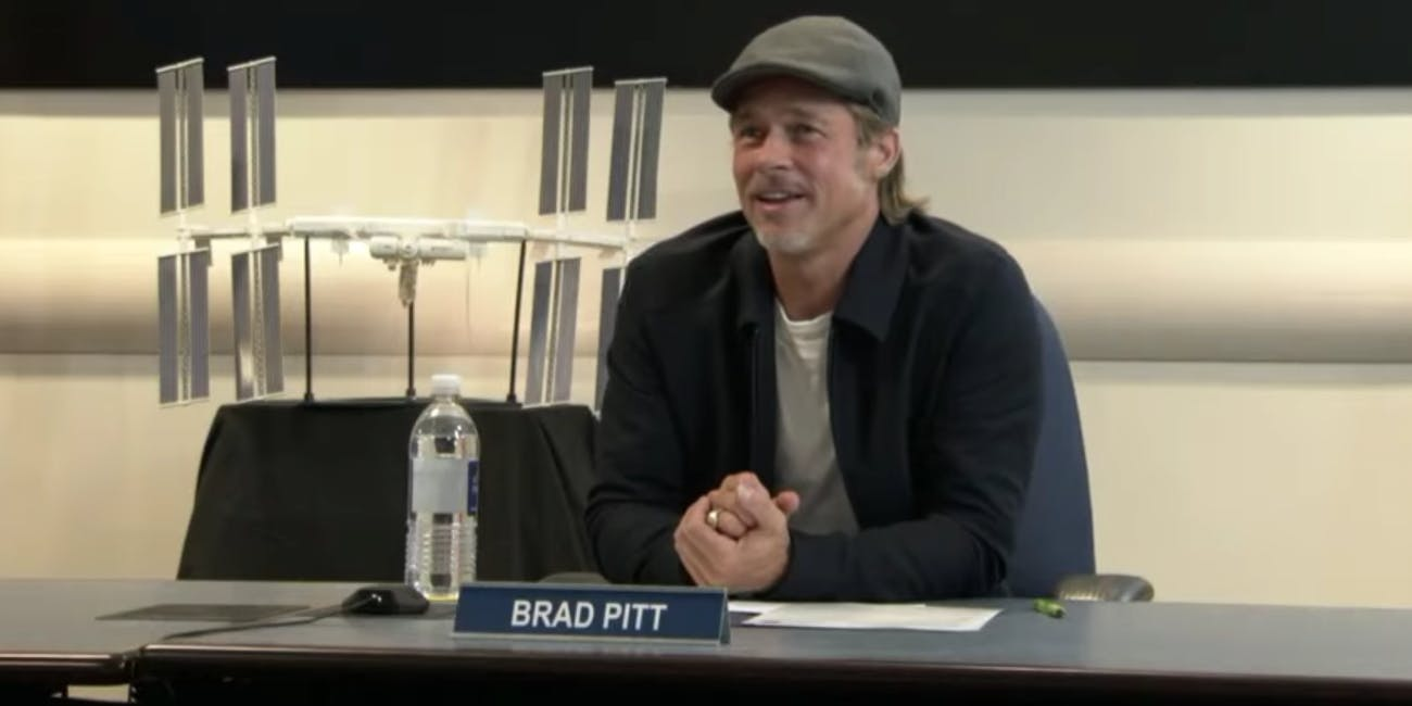 Brad Pitt, Earth, speaks with NASA astronaut Nick Hague, in space, on Monday, September 16, 2019.