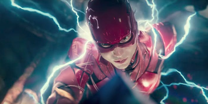 Somehow, Barry Allen has a super-suit but no official superhero name yet in 'The Justice League'.