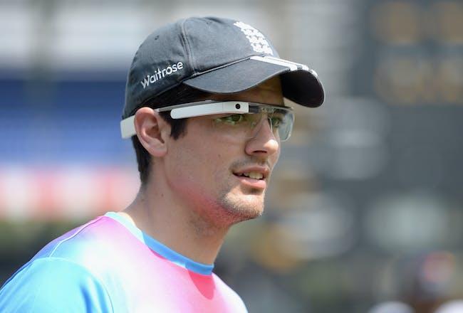 England captain Alastair Cook, wearing Google Glass.