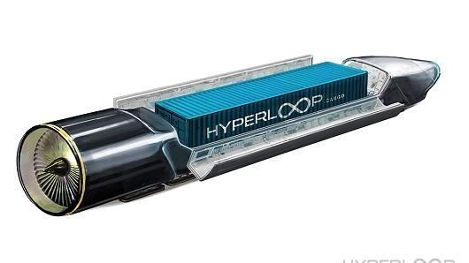 An early Hyperloop One rendering of how a shipping container might be transported inside a tube.