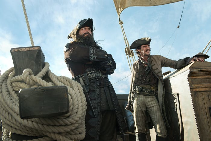 Ray Stevenson as Teach aka Blackbeard and Toby Schmitz as Jack Rackham in 'Black Sails'