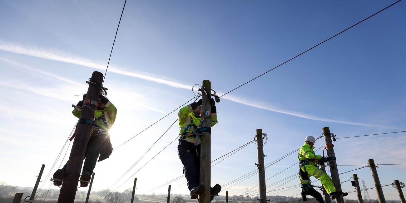 Openreach trainees practicing setting up cables in 2017.