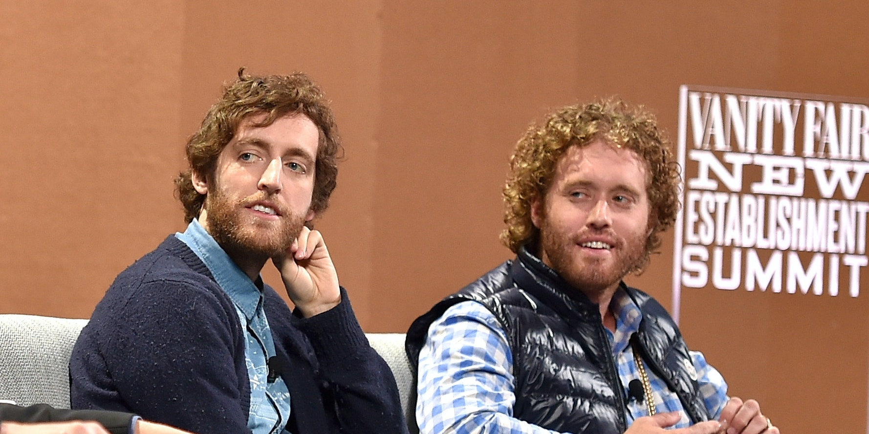 SAN FRANCISCO, CA - OCTOBER 06:  (L-R) Co-creator Mike Judge, Executive Producer Alec Berg, actors Thomas Middleditch and T. J. Miller speak onstage during 'Silicon Valley Vs. Silicon Valley—Inside HBO's Hit Show' at the Vanity Fair New Establishment Summit at Yerba Buena Center for the Arts on October 6, 2015 in San Francisco, California.  (Photo by Mike Windle/Getty Images for Vanity Fair)