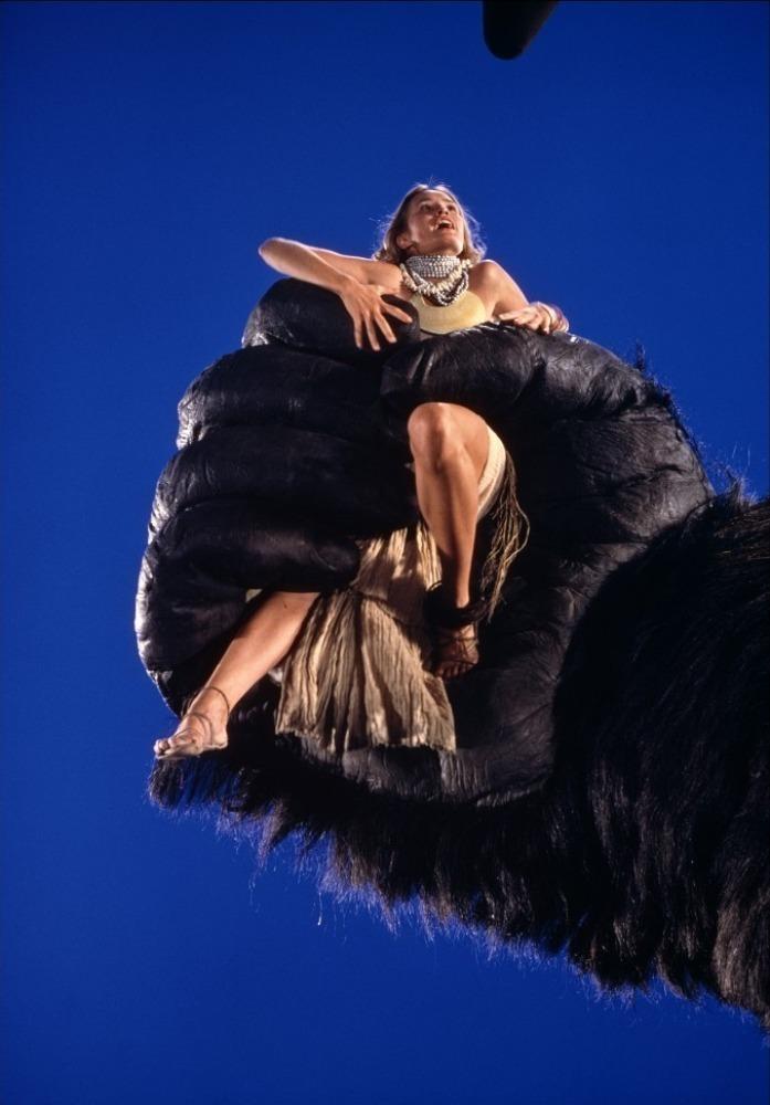 Jessica Lange as Dwan in 'King Kong' (1976) inside a giant mechanical ape hand.
