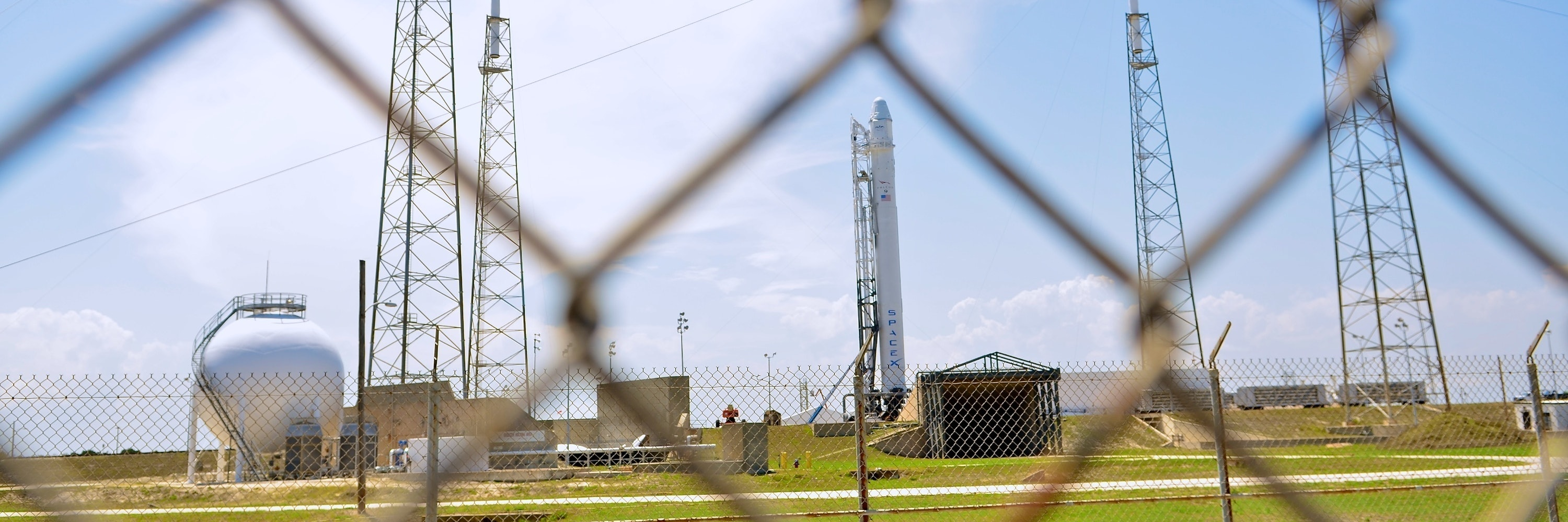 TITUSVILLE, FL - MAY 18: SpaceX rocket Falcon 9 sits on Pad 40 of the Cape Canaveral Air Force Station in Titusville, Florida. The launch Saturday morning launch would make SpaceX the first commercial company to send a spacecraft to the International Space Station. (Photo by Roberto Gonzalez/Getty Images)