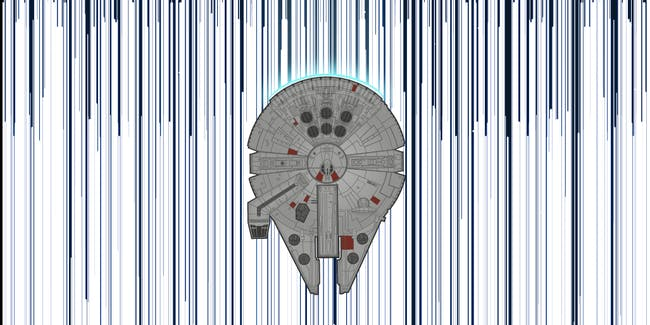 The Millennium Falcon entering hyperspace