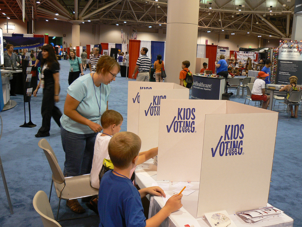 "Kids ""vote"" at Civic Fest in Minneapolis, Minnesota."