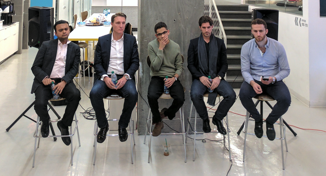 Optimists. From left to right: Ram Swaminathan, Nathan Stevenson, Mina Salib, Ryan Denehy, and moderator Jason Malki.