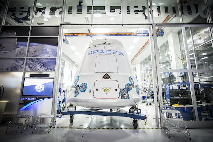 A Dragon capsule being shipped out of SpaceX HQ in Hawthorne, California, February 2015.