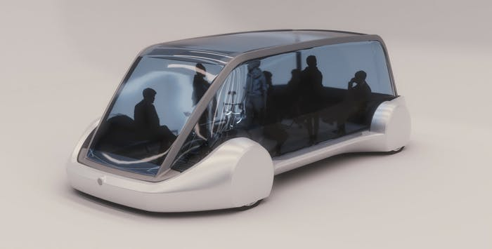 An artist's rendering of what a Boring Company bus would look like.