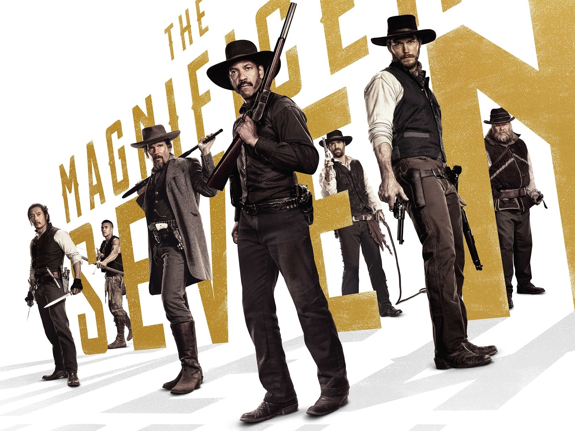 The 2016 remake of Magnificent Seven starring Denzel Washington, Chris Pratt, and Ethan Hawke