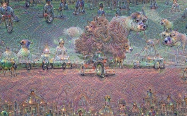 One of DeepDream's earliest renderings. Seems like a nice spot for a vacation!