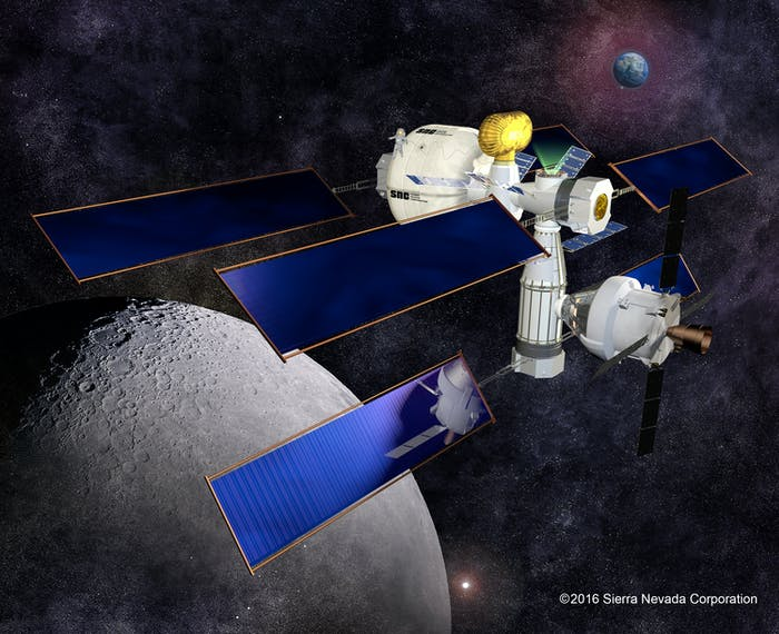 Concept image of Sierra Nevada Corporation's habitation prototype, based on its Dream Chaser cargo module.