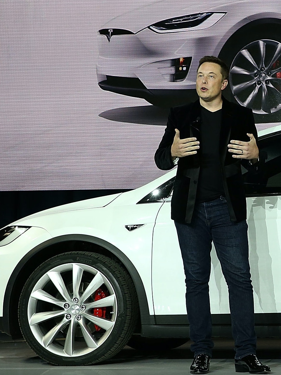 FREMONT, CA - SEPTEMBER 29:  Tesla CEO Elon Musk speaks during an event to launch the new Tesla Model X Crossover SUV on September 29, 2015 in Fremont, California. After several production delays, Elon Musk officially launched the much anticipated Tesla Model X Crossover SUV. The  (Photo by Justin Sullivan/Getty Images)