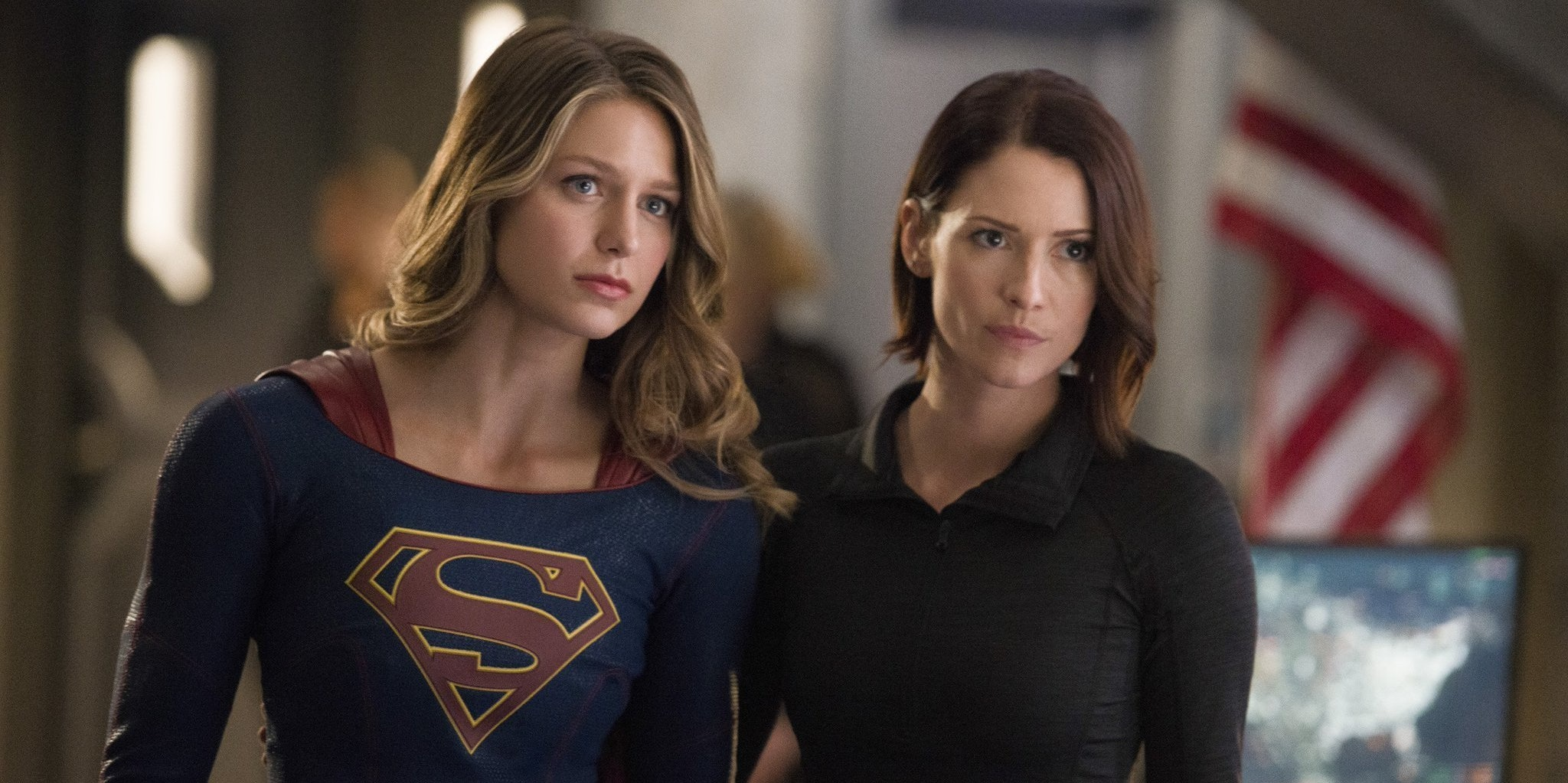 Melissa Benoist as Supergirl and Chyler Leigh as Alex Danvers on 'Supergirl'