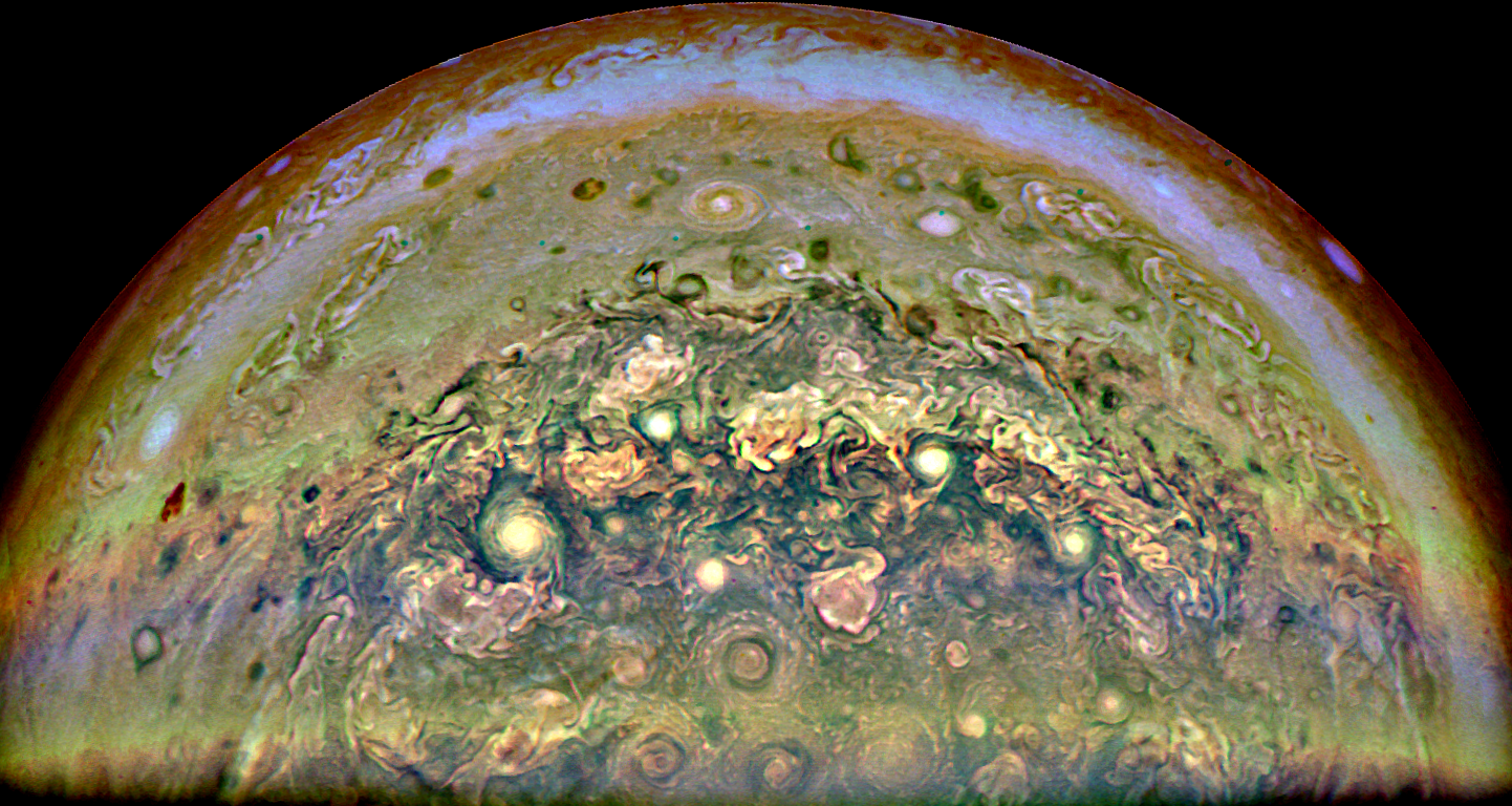 A composite of filtered, contrast enhanced and rotated RGB images of the South pole.