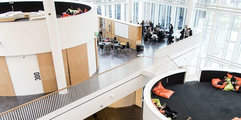 Orestad gymnasium school design futuristic education