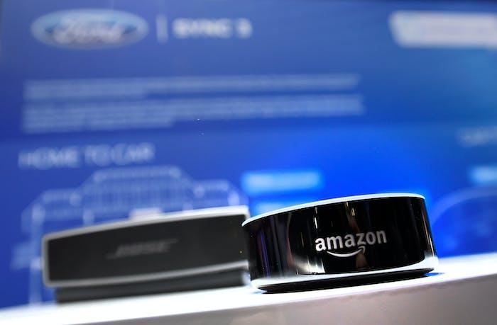 An Alexa-powered Amazon Echo device.