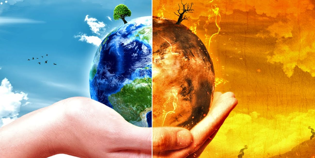 hand climate change fire green split nature globe
