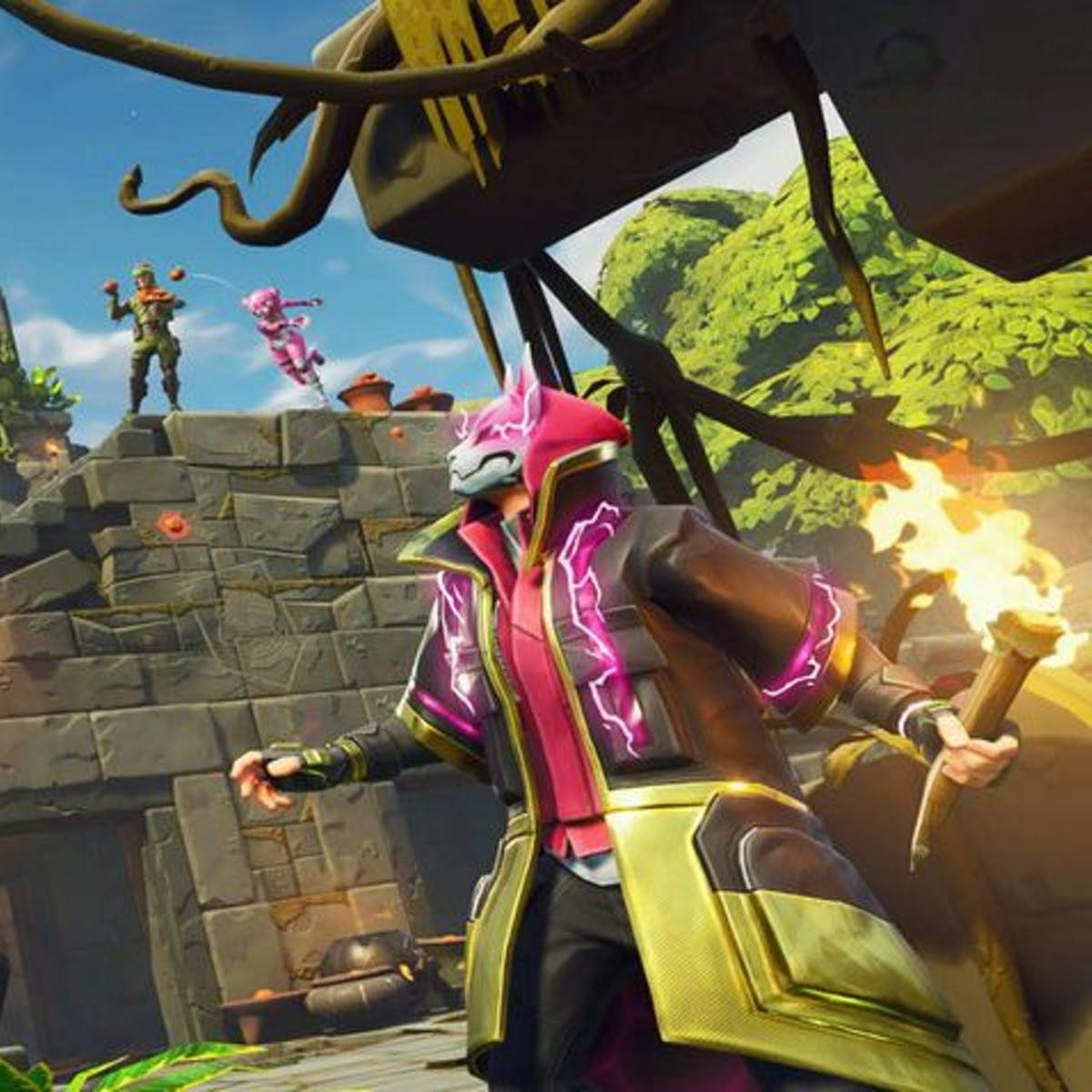fortnite search between a giant rock man crowned tomato encircled tree inverse - fortnite bow and arrow season 8 release date