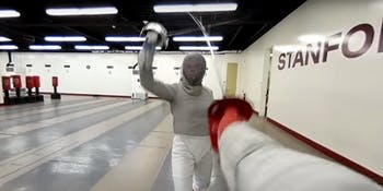 stanford university athletics vr virtual reality fencing fencer bout saber sabre sabreur