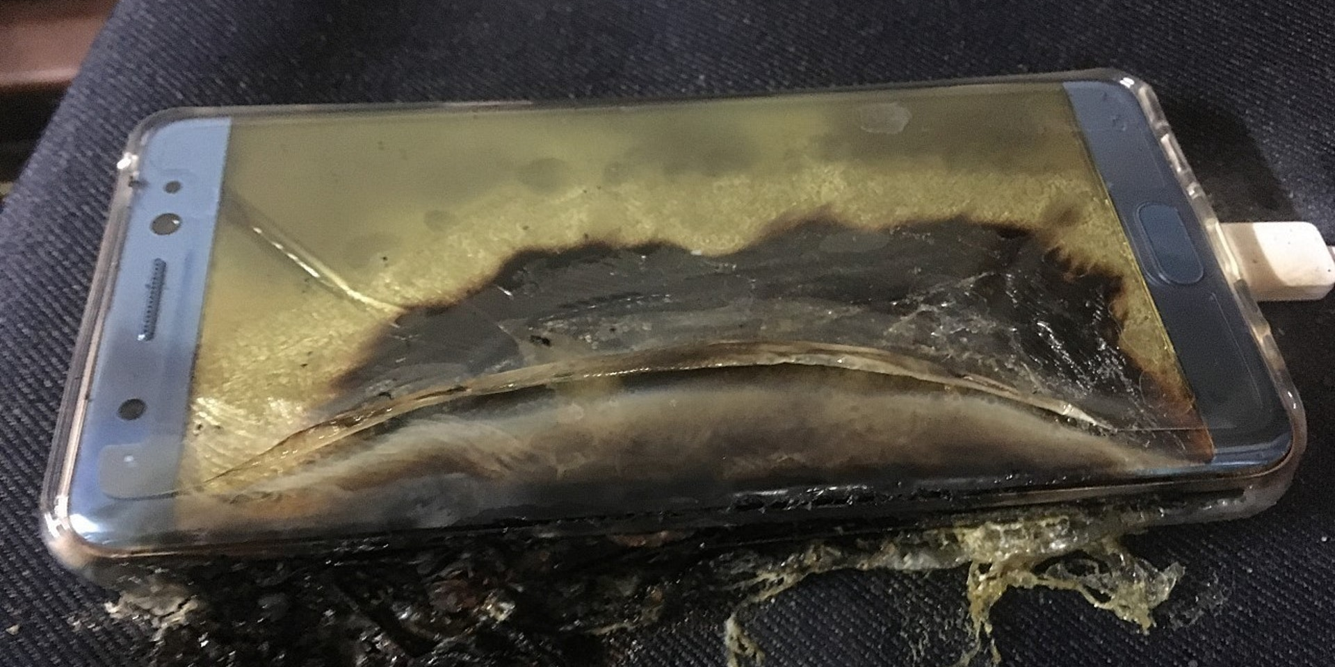 An exploded Galaxy Note 7, which has been recalled by Samsung.