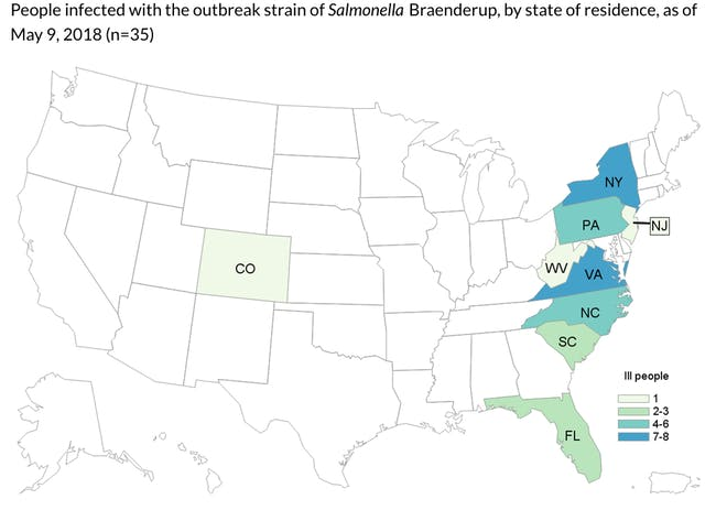 salmonella outbreak map