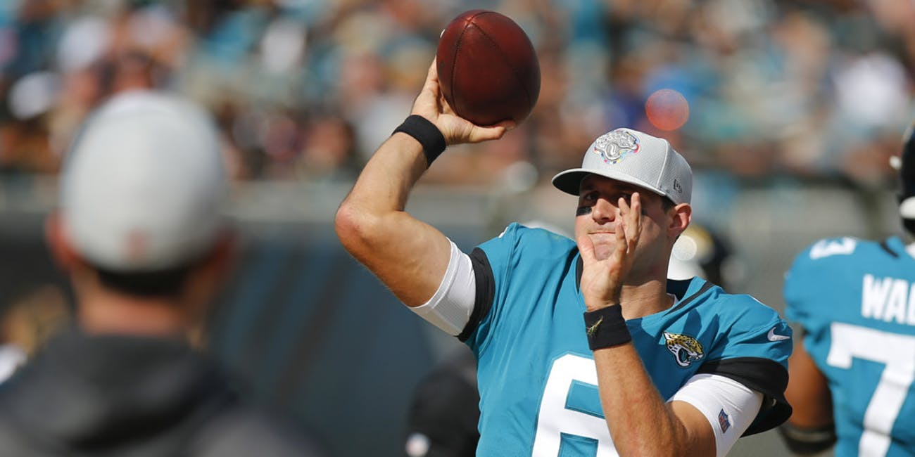 Jacksonville Jaguars Quarterback Cody Kessler (6) warms up in the sidelines during the game between the Houston Texans and the Jacksonville Jaguars on October 21, 2018 at TIAA Bank Field in Jacksonville, Fl.