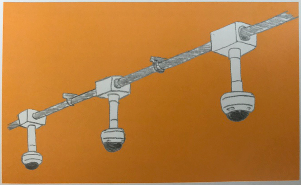 Surveillance systems, like these subway cameras Burrington sketched for her book, are the most visible of New York's technological infrastructure.