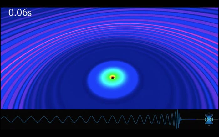 A computer simulation illustrating the gravitational waves being emitted after the black hole merger.