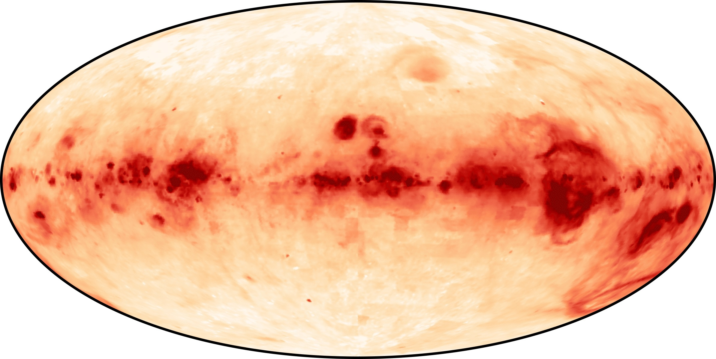 A survey image of ionized hydrogen gas in the Milky Way, depicted in red.