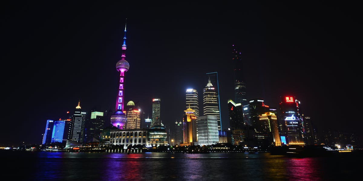 A general view of the Shanghai skyline at night prior to the 2015 Laureus World Sports Awards on April 12, 2015 in Shanghai, China.