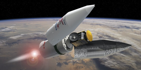 BAIKONUR, KAZAKHSTAN - MARCH 10:  In this handout photo illustration provided by the European Space Agency (ESA),   the payload fairing seperates during the ExoMars 2016 launch sequence, the Trace Gas Orbiter and the Schiaparelli entry, descent and landing demonstrator module can be seen as the fairing falls away, on March 10, 2016 in Baikonur, Kazakhstan. The Proton rocket carrying the ExoMars Trace Gas Orbiter (TGO) and Schiaparelli descent and landing demonstrator module to Mars will be launched on March 14. One of the Scientific objectives of the collaborative project between the European Space Agency (ESA) and the Russian Federal Space Agency is to search for signs of past and present life on Mars.  (Photo illustration by David Ducros/ESA via Getty Images)