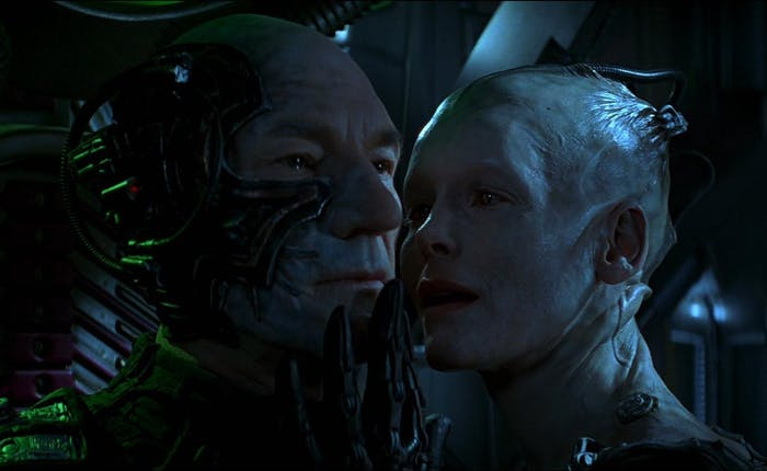 The Borg Queen with Picard in 'First Contact'