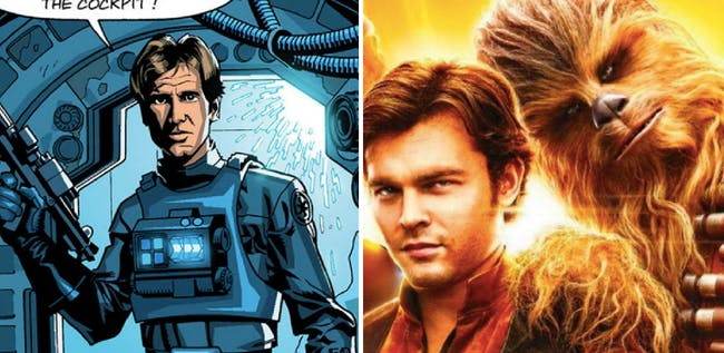 LEFT: Han as a TIE Fighter pilot in old canon. RIGHT: Han and Chewie in the upcoming movie 'Solo.'