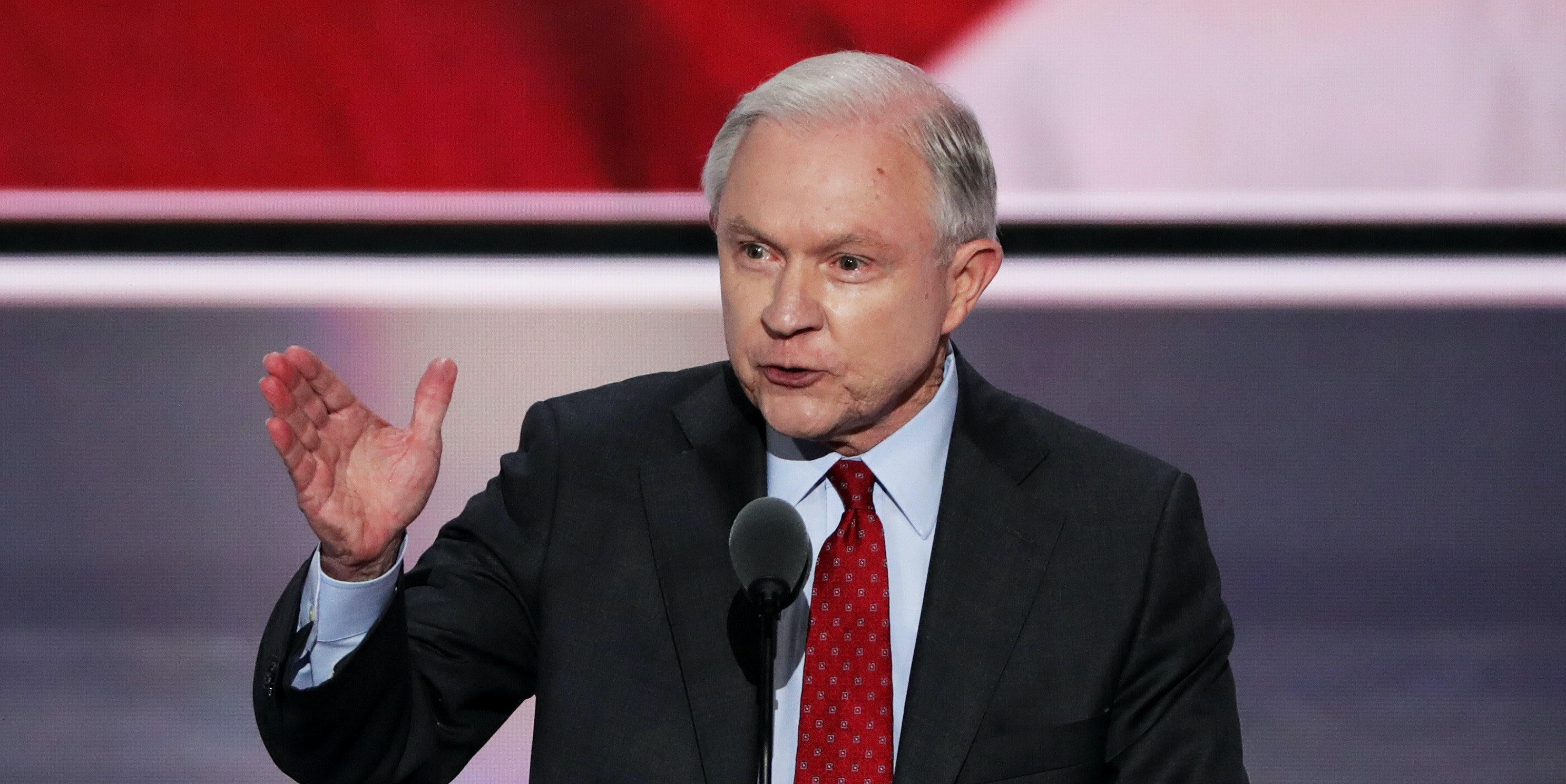 Sen. Jeff Sessions (R-AL) delivers a speech during the opening of the second day of the Republican National Convention.