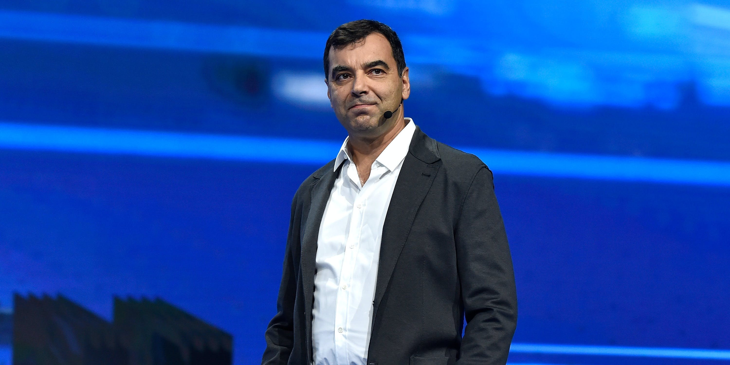 Mobileye Co-founder, CTO and Chairman Amnon Shashua speaks at a Volkswagen press event at the 2016 Consumer Electronics Show.  At this year's CES, Mobileye demonstrated its automated driving system it made with Delphi.