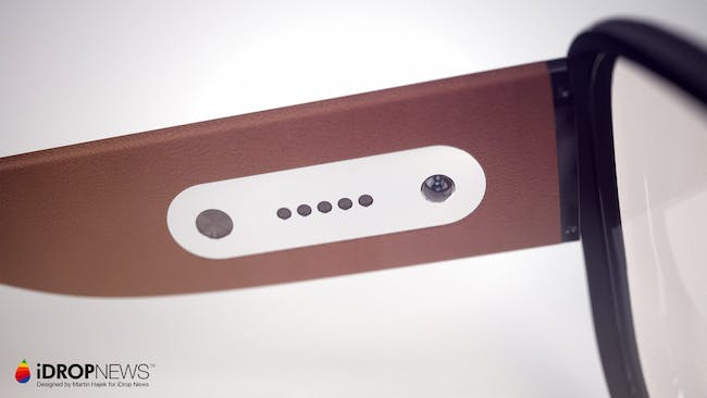 A view of the inside arm showing speaker and other interaction holes.