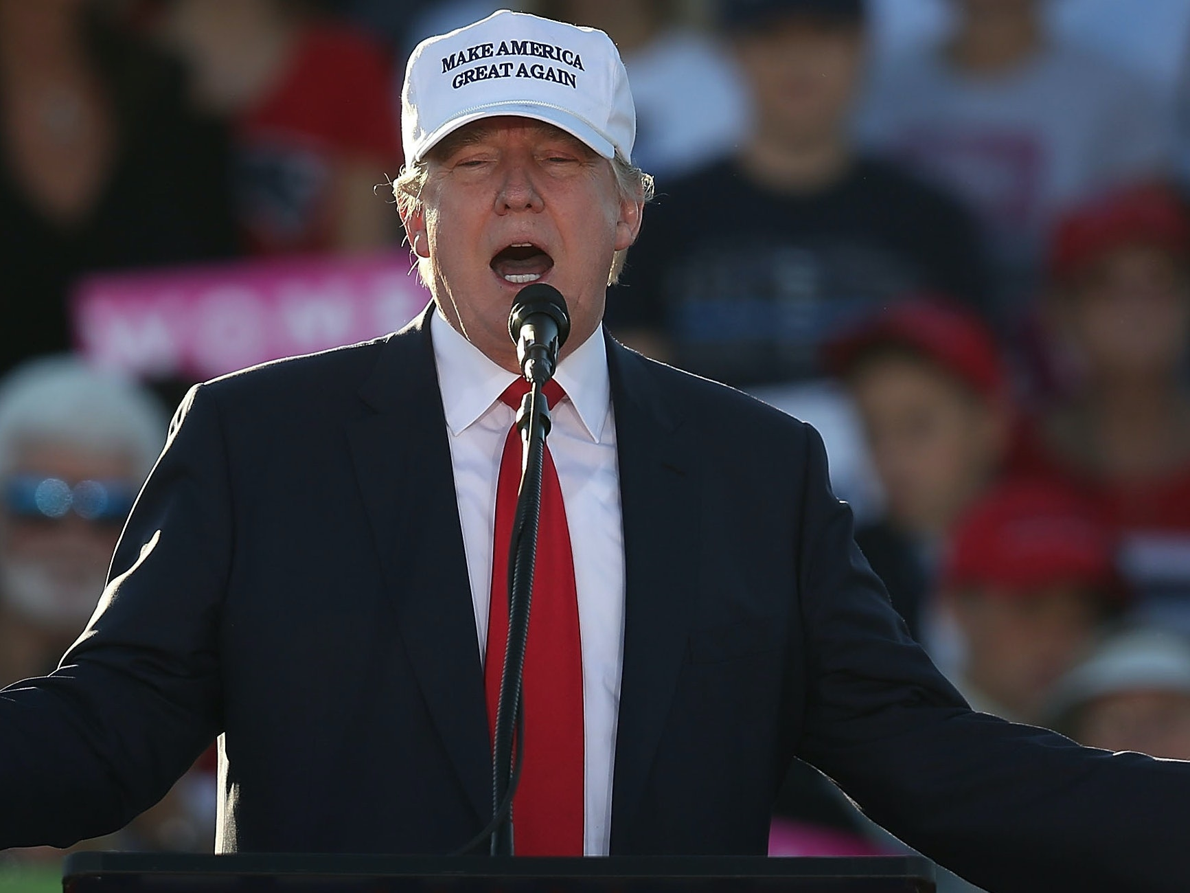 Republican presidential candidate Donald Trump speaks during a campaign rally at the Collier County Fairgrounds on October 23, 2016 in Naples, Florida. Early voting in Florida in the presidential election begins October 24. Trump will not be visiting Kennedy Space Center as planned.