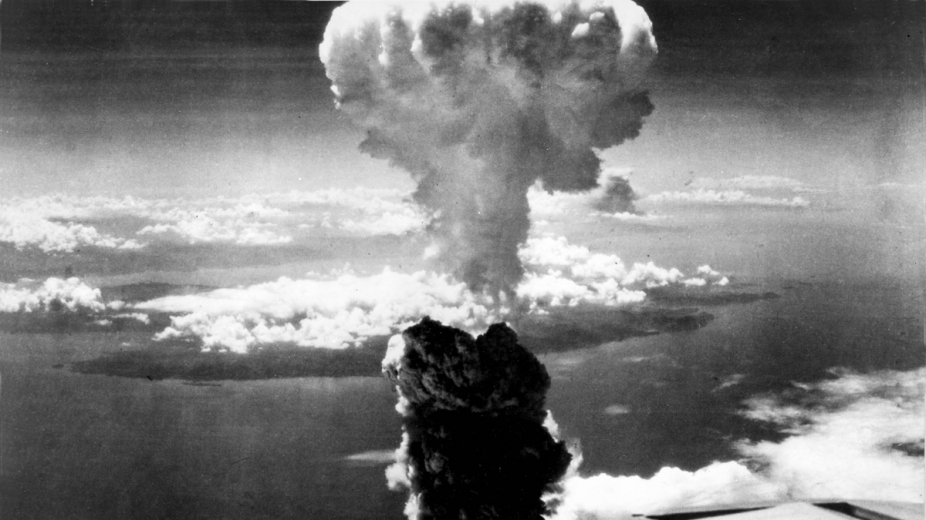 A photo of the nuclear mushroom cloud over Nagasaki, in 1945.